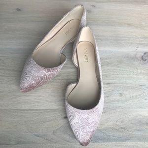 Nine West Pink/Nude Velvet Flats - NWOT